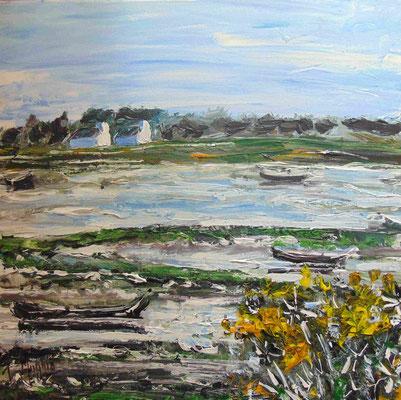 Bretagne au printemps, 50 x 50, acrylique sur toile, vendue.