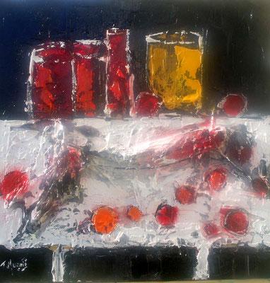 Table avec fruits et feuilles, vendue.