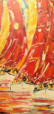 Rouges, les voiles 100 x 50