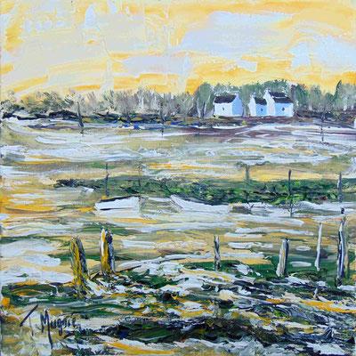 Entre ciel et terre, 40 x 40, acrylique sur toile, vendue.