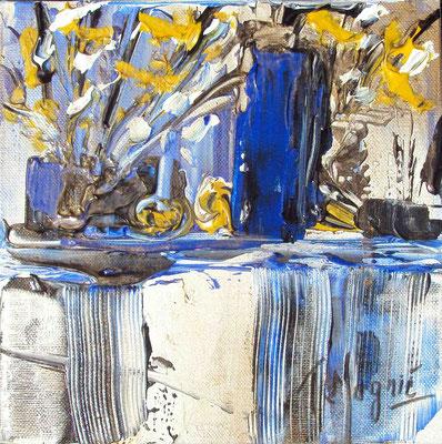 Ikebana Blue 2, 20 x 20, vendue, collection particulière