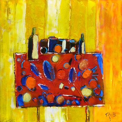 Table avec fruits et feuilles, 80 x 80,, vendue.