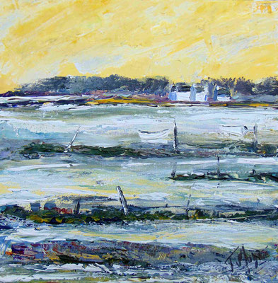 Les barques blanches, 40 x 40, acrylique sur toile.