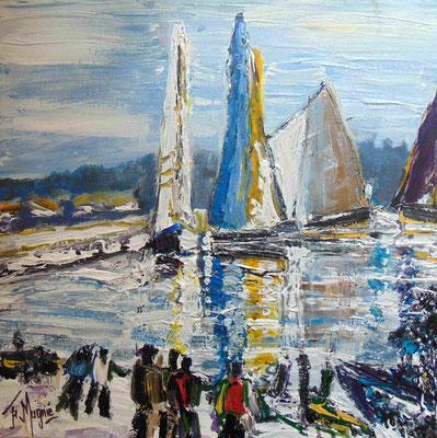 Attroupement sur le port, 50 x 50, acrylique sur toile, vendue.