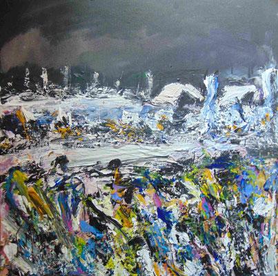 Neige au printemps en Bourgogne, 50 x 50, acrylique sur toile.