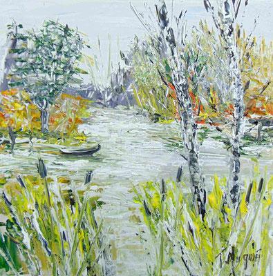 Marais en Charente, 40 x 40, acrylique sur toile, vendue.
