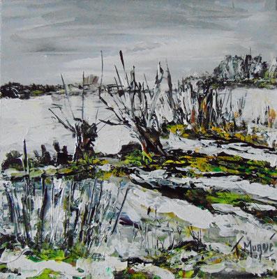 Bouleaux en hiver, 40 x 40, acrylique sur toile