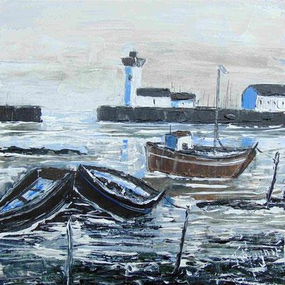 Phare et bateau, 40 x 40, acrylique sur toile.