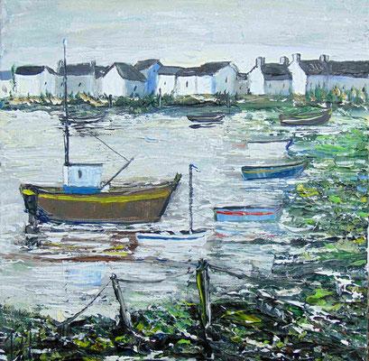 A marée basse, 50 x 50, acrylique sur toile, vendue.