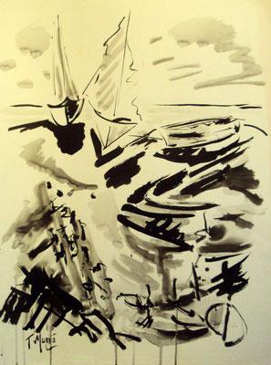 Sur la grève, encre gouachée, 65 x 50