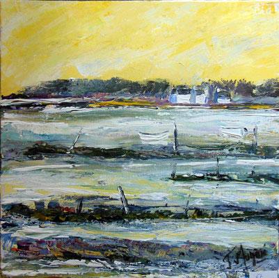 Deux barques blanches, 40 x 40, acrylique sur toile, vendue.