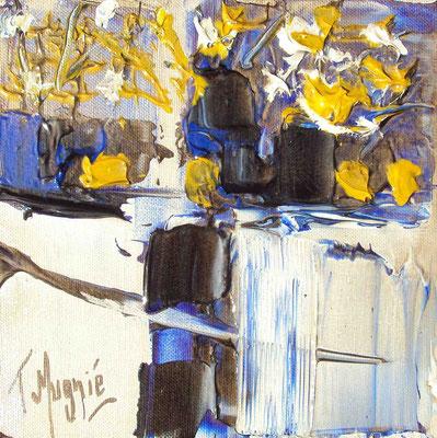 Ikebana Blue 7, 20 x 20, vendue, collection particulière