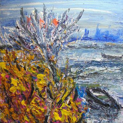 Arbre et iris, 50 x 50, acrylique sur toile.
