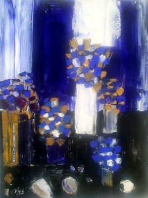 Vases avec fleurs bleues, vendue, collection particulière