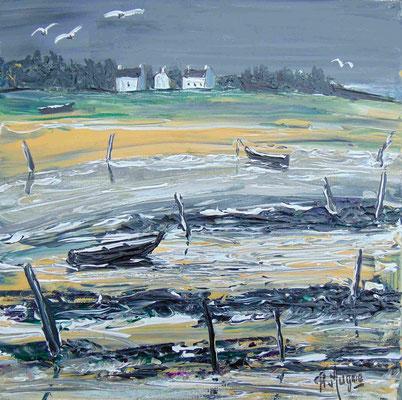 A l'approche de l'orage, 50 x 50, acrylique sur toile, vendue.