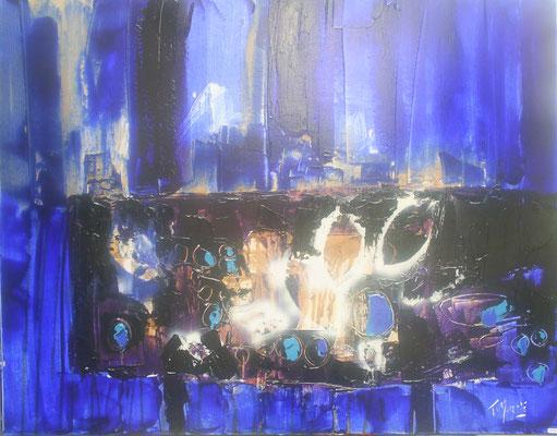 Table, atmosphère bleue, avec fruits et feuilles, 80 x 80,, vendue.