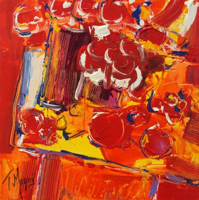 Table avec bouquet et tomates, 40 x 40.