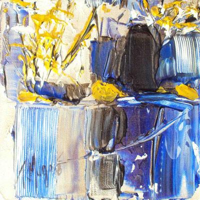 Ikebana Blue 6, 20 x 20, vendue, collection particulière