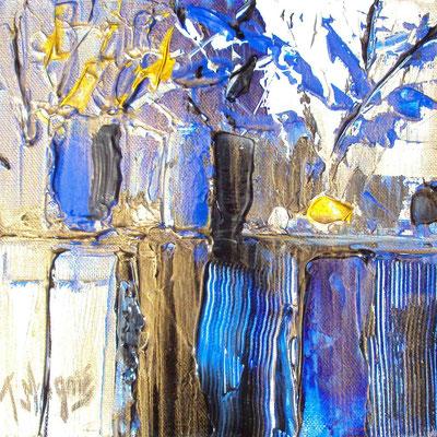 Ikebana Blue 4, 20 x 20, vendue, collection particulière
