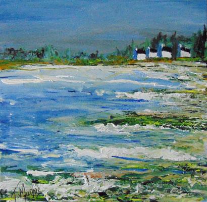 La marée remonte..., 60 x 60, acrylique sur toile