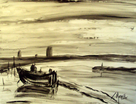 Bateau de pêche, gouache, 50 x 65