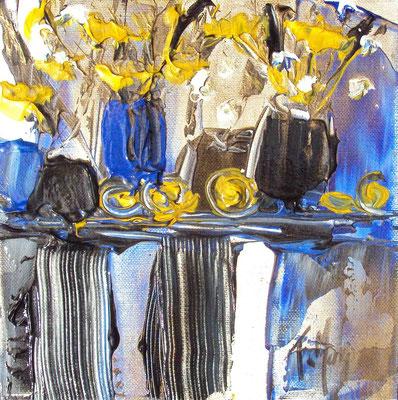 Ikebana Blue 8, 20 x 20, vendue, collection particulière