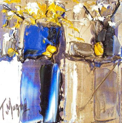 Ikebana Blue 5, 20 x 20, vendue, collection particulière