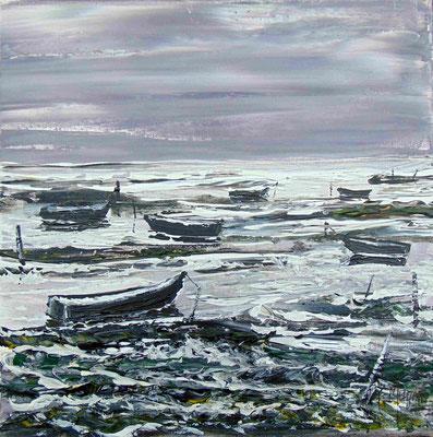 Barques vers l'infini, 40 x 40, acrylique sur toile.