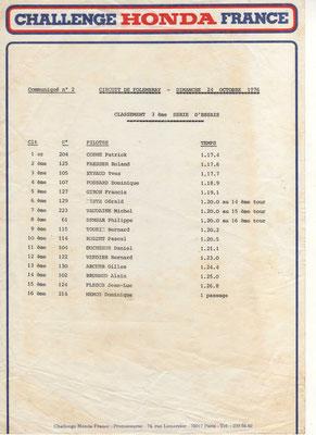 Classement 3 ème série d'essais (doc. J.Faucon)