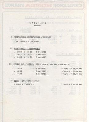 Horaires (doc. J.Faucon)