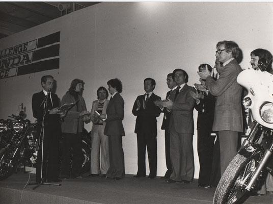 J.BOLLE: Remise des prix Challenge Honda France 125 1976 - D.BLANC, R.FAESSER et J.BOLLE à la gauche du speaker.