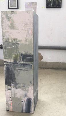 Dreidimensionales Bildobjekt Acryl auf MDF Quader 40 x 100 x 40 cm