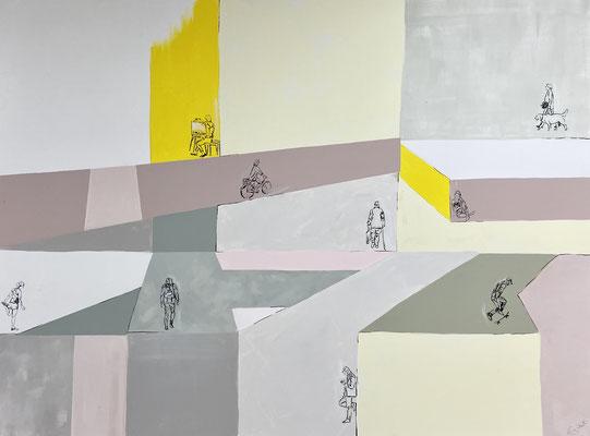 NACH INNEN 1 Tusche, Acryl- und Kreidefarbe auf Leinwand 120 x 160 cm