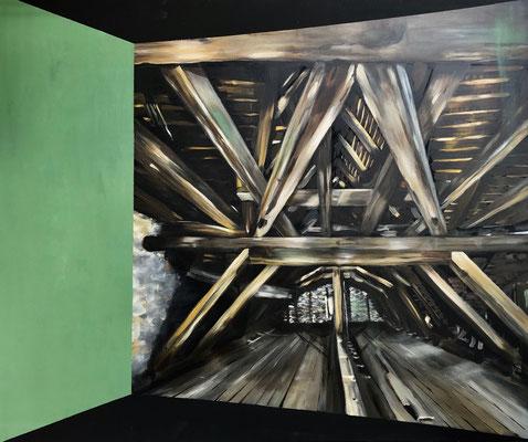 ZEITSPRUNG 3 Acryl auf schwarzer Leinwand 120 x 100 cm