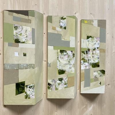 Acryl und Kreide auf mit Leinwand bespannten Dreieckssäulen 3 teilig 100 x 60