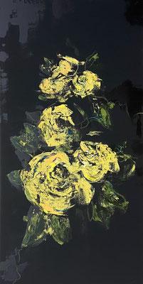 Acrylfarbe und Ölpastellkreide auf schwarzer Leinwand 50 x 100 cm