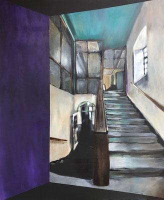 ZEITSPRUNG 1 Acryl auf schwarzer Leinwand 100 x 120 cm
