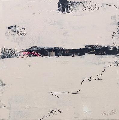 Acrylfarbe und Ölpastellkreide auf Leinwand 40 x 40 cm