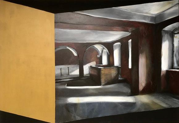 ZEITSPRUNG 5 Acryl auf schwarzer Leinwand 70 x 100 cm