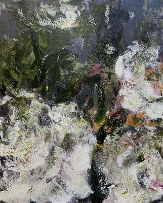 Acrylfarbe und Ölpastellkreide auf Leinwand 80 x 100 XL