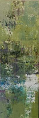 Acrylfarbe und Ölpastellkreide auf Leinwand 120 x 40 cm