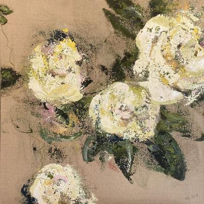 Acrylfarbe und Ölpastellkreide auf Jute 100 x 100 cm