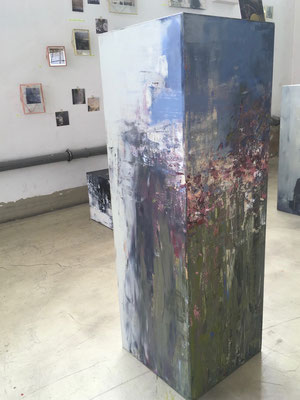 Dreidimensionales Bildobjekt Acryl auf MDF Quader 40 x 120 x 40 cm