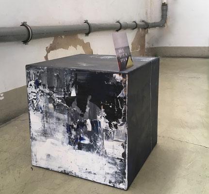 Dreidimensionales Bildobjekt Acryl auf MDF Kubus 40 x 40 x 40 cm