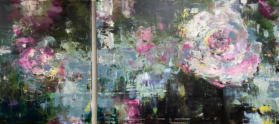 Acrylfarbe und Ölpastellkreide auf Leinwand Diptychon 60x 80 cm und 120 x 80 cm