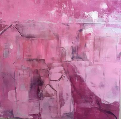 Acrylfarbe und Ölpastellkreide auf Leinwand 80 x 80 cm