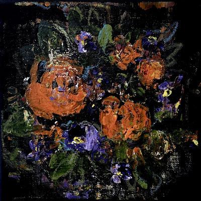 Acrylfarbe und Ölpastellkreide auf schwarzer Leinwand 20 x 20 cm