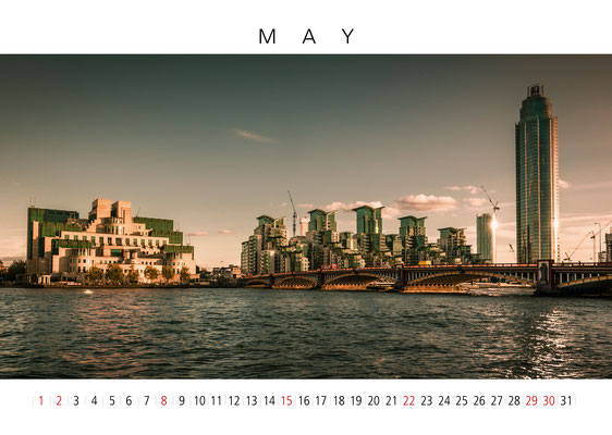 MI6-Building and Vauxhall Bridge, London Calendar 2017, May