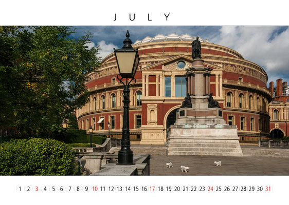 Royal Albert Hall, London Calendar 2017, July