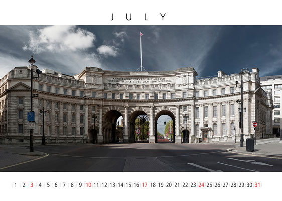 London Wall Calendar, July, Admirals Arch